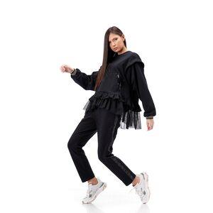 Bluza neagra RVL cu volane de tul