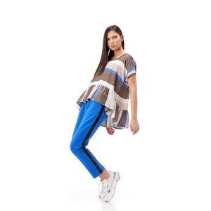 Bluza de dama RVL, in dungi bej/bleumarin