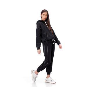 Pantalon dama RVL, negru din tricot , cu vipusca argintie pe laterala