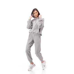 Hanorac cu gluga RVL, gri, din tricot, cu vipusca argintie la maneca si aplicatii de paiete la buzunar.