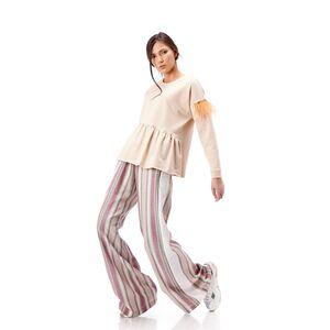 Bluza de dama RVL, bej din tricot cu aplicatii de pene la maneca
